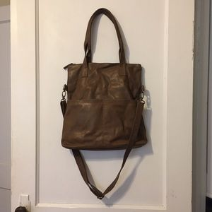 Real Leather Convertible Tote/Crossbody Bag